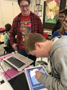 Cartooning with a real cartoonist in 7th grade art!